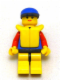 Minifig No: res013  Name: Coast Guard City Center - Red Collar & Arms, Yellow Legs with Black Hips, Blue Cap, Life Jacket