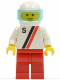 Minifig No: s001  Name: 'S' - White with Red / Black Stripe, Red Legs, White Helmet, Trans-Light Blue Visor