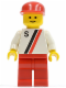 Minifig No: s002  Name: 'S' - White with Red / Black Stripe, Red Legs, Red Cap