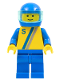 Minifig No: s004  Name: 'S' - Yellow with Blue / Gray Stripe, Blue Legs, Blue Helmet