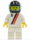 Minifig No: s005  Name: 'S' - White with Red / Black Stripe, White Legs, Black Helmet, Trans-Light Blue Visor