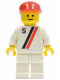 Minifig No: s008  Name: 'S' - White with Red / Black Stripe, White Legs, Red Cap