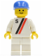 Minifig No: s009  Name: 'S' - White with Red / Black Stripe, White Legs, Blue Cap