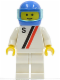 Minifig No: s012  Name: 'S' - White with Red / Black Stripe, White Legs, Blue Helmet