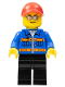 Minifig No: sc010  Name: Blue Jacket with Pockets and Orange Stripes, Black Legs, Red Cap with Hole, Silver Sunglasses