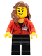 Minifig No: sc011  Name: Press Woman / Reporter - Black Legs, Reddish Brown Female Hair over Shoulder