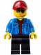 Minifig No: sc021  Name: Race Official - Dark Red Cap, Blue Jacket