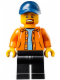 Minifig No: sc029  Name: Race Official - Dark Blue Cap, Orange Jacket, Black Legs