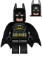 Minifig No: sh016b  Name: Batman - Black Suit with Yellow Belt and Crest (Type 2 Cowl, Spongy Tear-Drop Neck Cut Cape)