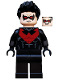 Minifig No: sh085  Name: Nightwing - Red Eye Holes and Chest Symbol
