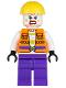 Minifig No: sh093  Name: Joker's Goon - Construction Outfit, Orange Jacket, Yellow Helmet, Purple Legs