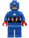 Minifig No: sh106  Name: Captain America - Blue Suit, Brown Belt
