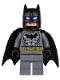 Minifig No: sh151  Name: Batman - Dark Bluish Gray Suit, Gold Belt, Black Hands, Spongy Cape