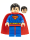 Minifig No: sh156  Name: Superman - Blue Suit, Dual Sided Head with Red Eyes on Reverse, Spongy Soft Knit Cape