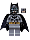 Minifig No: sh162  Name: Batman - Dark Bluish Gray Suit, Gold Belt, Black Hands, Spongy Cape, Scuba Mask Head