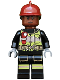 Minifig No: sh579  Name: Firefighter - Dark Red Fire Helmet, Reddish Brown Head, Reflective Stripes