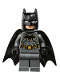 Minifig No: sh589  Name: Batman - Dark Bluish Gray Suit with Gold Outline Belt and Crest, Mask and Cape (Type 3 Cowl, Tear-Drop Neck Cut Spongy Cape)
