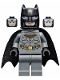 Minifig No: sh589a  Name: Batman - Dark Bluish Gray Suit with Gold Outline Belt and Crest, Mask and Cape (Type 3 Cowl, Spongy Cape)