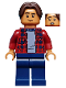 Minifig No: sh602  Name: Ned Leeds - Dark Red Plaid Shirt, Dark Blue Legs