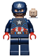 Minifig No: sh686  Name: Captain America - Dark Blue Suit, Red Hands, Helmet