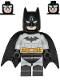 Minifig No: sh689  Name: Batman - Light Bluish Gray Suit with Yellow Belt, Black Crest, Mask and Cape (Type 3 Cowl)