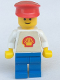 Minifig No: shell001a  Name: Shell - Classic - Blue Legs, Red Hat (Torso with Trapezoid Sticker)