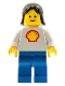Minifig No: shell002  Name: Shell - Classic - Blue Legs, Black Female Hair