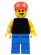 Minifig No: soc004  Name: Plain Black Torso with Yellow Arms, Blue Legs, Red Cap (Soccer Fan)