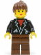 Minifig No: soc006  Name: Leather Jacket with Zippers - Brown Legs, Brown Ponytail Hair