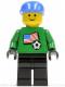 Minifig No: soc008s01  Name: Soccer Player - US Goalie, US Flag Torso Sticker on Front, White Number Sticker on Back (1, 18 or 22, specify number in listing)