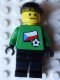 Minifig No: soc012s02  Name: Soccer Player - Czech Goalie, Czech Flag Torso Sticker on Front, White Number Sticker on Back (1, 18 or 22, specify number in listing)