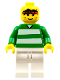 Minifig No: soc016  Name: Soccer Player Green & White Team  #3 on Back
