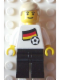 Minifig No: soc025s01  Name: Soccer Player - German Player 2, German Flag Torso Sticker on Front, Black Number Sticker on Back (specify number in listing)