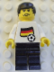 Minifig No: soc031s01  Name: Soccer Player - German Player 3, German Flag Torso Sticker on Front, Black Number Sticker on Back (specify number in listing)