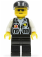 Minifig No: soc045  Name: Police - Sheriff Star and 2 Pockets, Black Legs, White Arms, Black Cap, Black Sunglasses