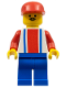 Minifig No: soc047  Name: Soccer Player Red & Blue Team  #9 on Back and Red Cap
