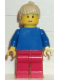 Minifig No: soc054  Name: Soccer Player Womens Team, Tan Ponytail Hair, Red Lips