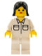 Minifig No: soc058  Name: Shirt with 2 Pockets, White Legs, Black Female Hair