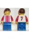 Minifig No: soc096  Name: Soccer Player Red & Blue Team  #7 on Back and Brown Hair