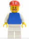 Minifig No: soc114  Name: Plain Blue Torso with White Arms, White Legs, Red Cap (Soccer Fan)