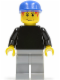 Minifig No: soc117  Name: Plain Black Torso with Black Arms, Light Bluish Gray Legs, Blue Cap (Soccer Goalie)