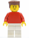 Minifig No: soc118  Name: Plain Red Torso with Red Arms, White Legs, Reddish Brown Flat Top Hair (Soccer Player)