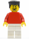 Minifig No: soc119  Name: Plain Red Torso with Red Arms, White Legs, Black Flat Top Hair (Soccer Player)