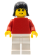 Minifig No: soc121  Name: Plain Red Torso with Red Arms, White Legs, Black Female Hair (Soccer Player)