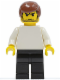 Minifig No: soc123  Name: Plain White Torso with White Arms, Black Legs, Reddish Brown Male Hair (Soccer Player)