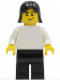 Minifig No: soc127  Name: Plain White Torso with White Arms, Black Legs, Black Female Hair (Soccer Player)