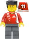 Minifig No: soc131s  Name: Soccer Player - Adidas Logo Red Torso Stickers (#11)