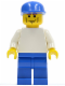 Minifig No: soc134  Name: Plain White Torso with White Arms, Blue Legs, Blue Cap (Soccer Player)