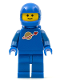 Minifig No: sp004new  Name: Classic Space - Blue with Airtanks and Motorcycle (Standard) Helmet (Reissue)