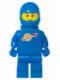Minifig No: sp004new2  Name: Classic Space - Blue with Airtanks and Motorcycle (Standard) Helmet, Brown Eyebrows, Thin Grin (Reissue)